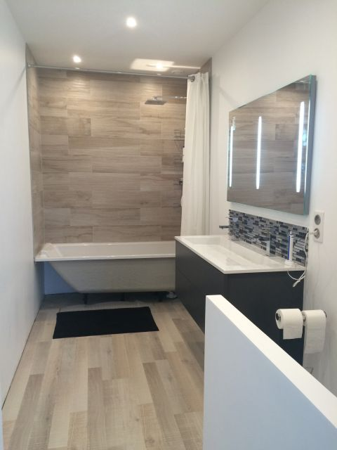 Carrelage salle de bain jusqu en haut - Carrelage miroir salle de bain ...